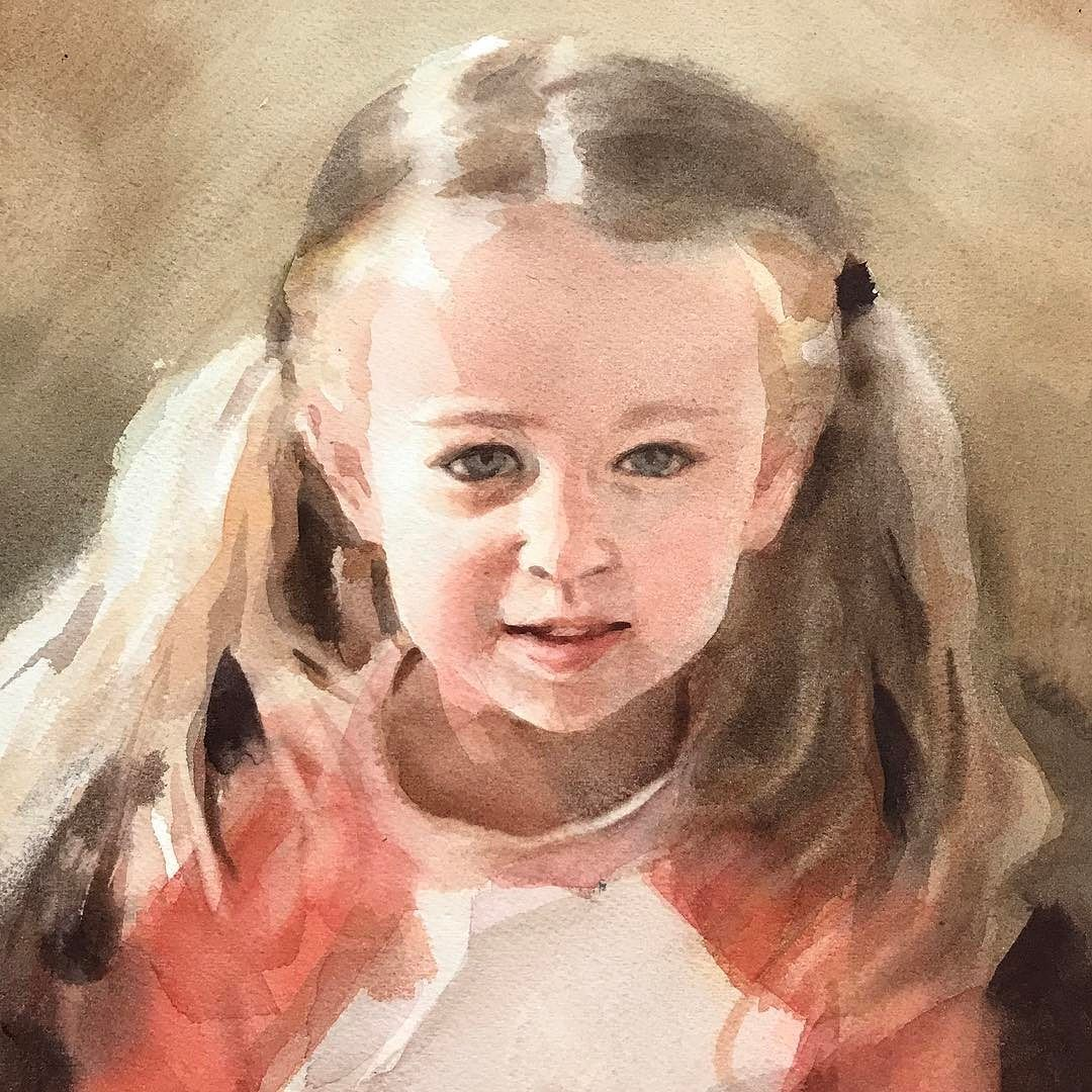 Watercolor Portrait Painting Lesson On Arches Watercolorpaper By