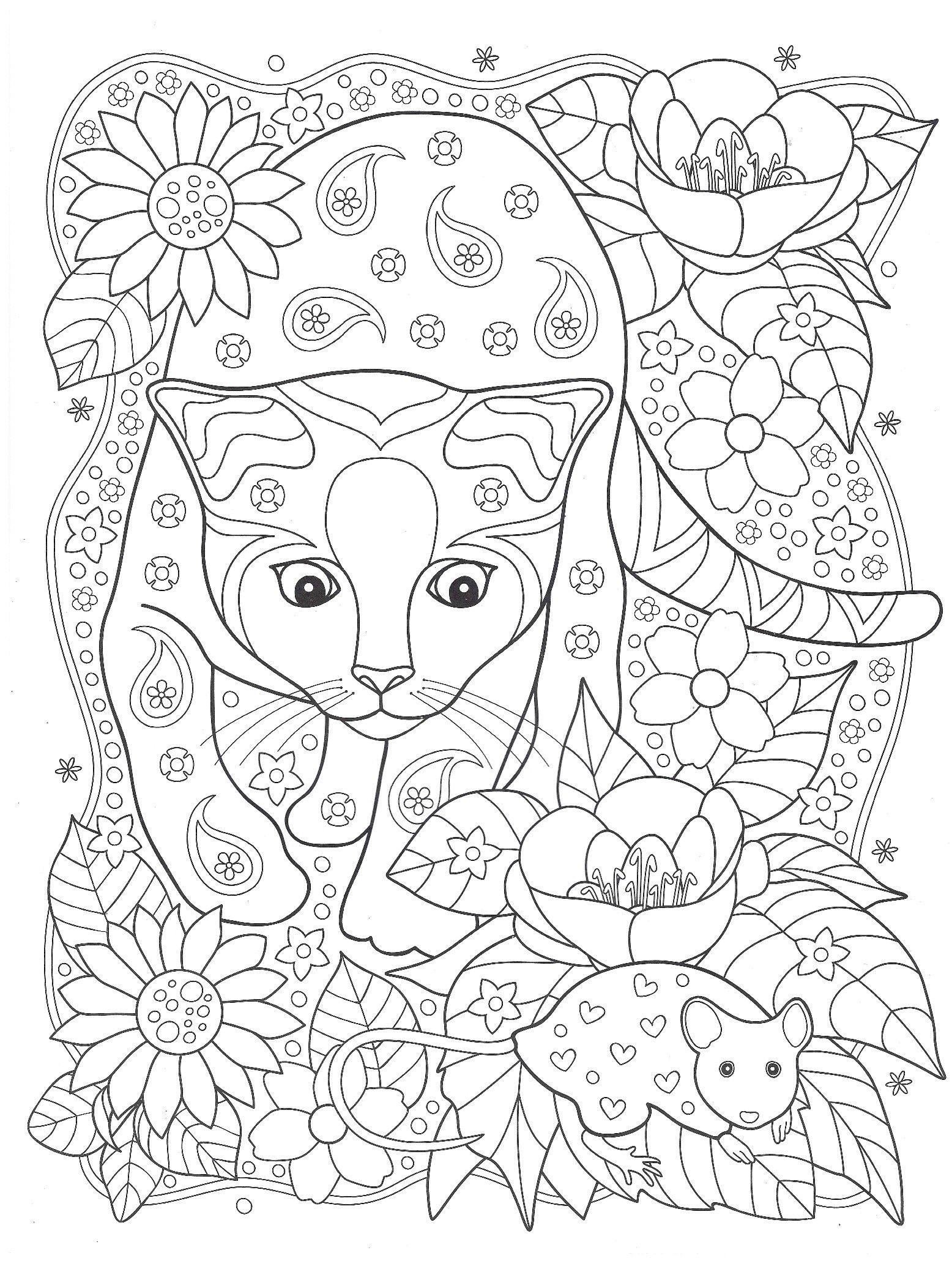 Раскраски «Животные» - «Кошка и мышка»   Раскраски с ...