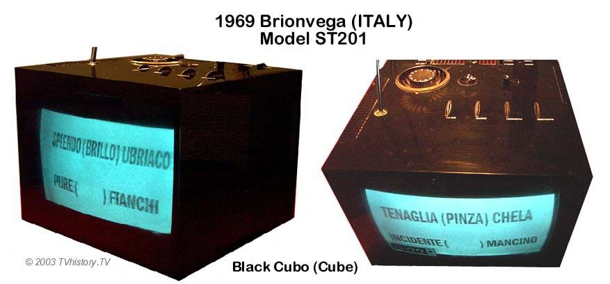Brionvega's Cubo television, introduced in 1969, was designed by Mario Bellini.