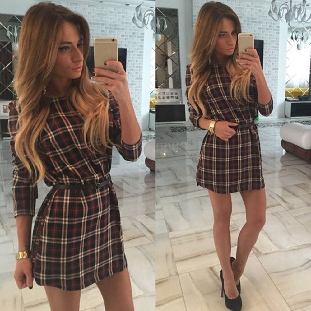 Plaid print oneck long sleeve short dress print plaid and