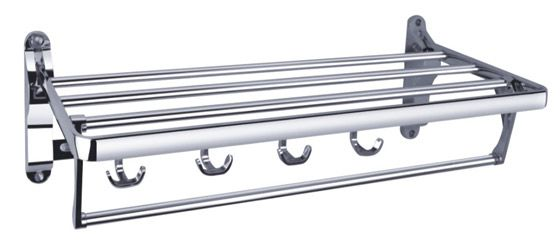 Gentil Bath Towel Rail 2202 Foldable Bath Towel Shelf With Robe Hooks