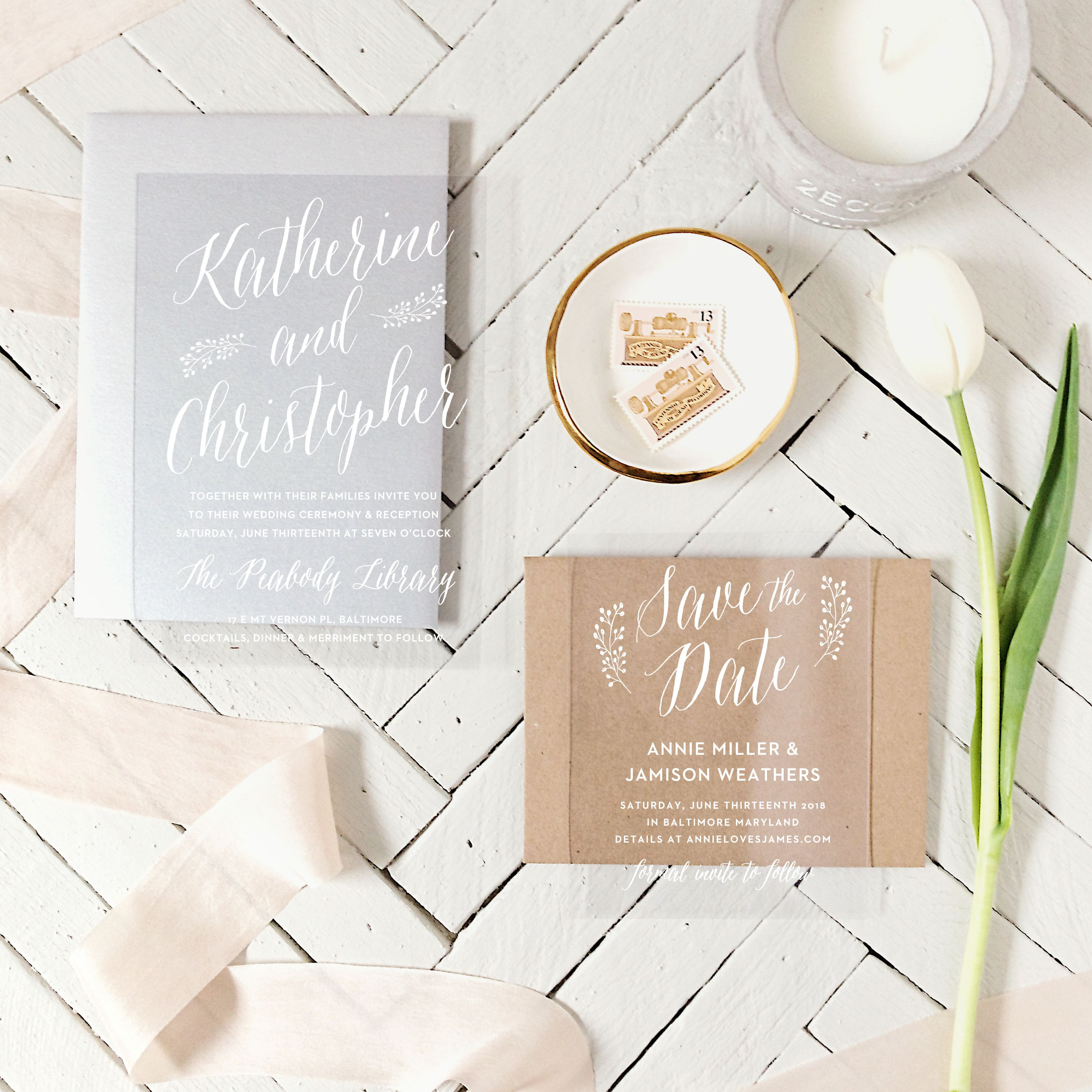 Floral Calligraphy Clear Wedding Invitations Invitation suite