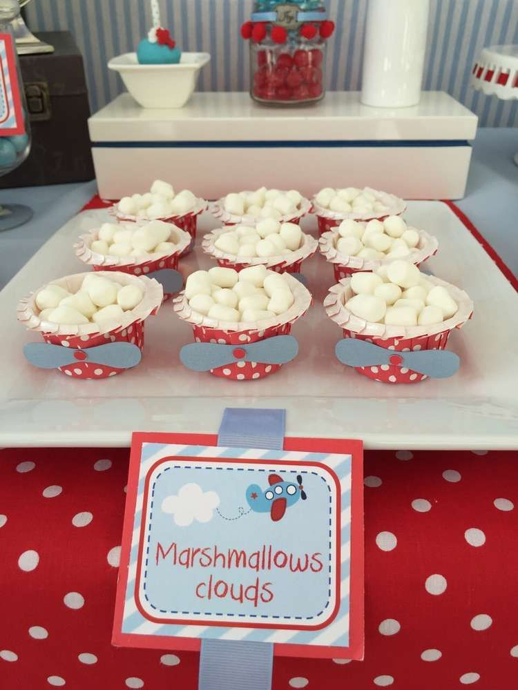 Airplane Birthday Party Marshmallow Clouds! #marshmallows