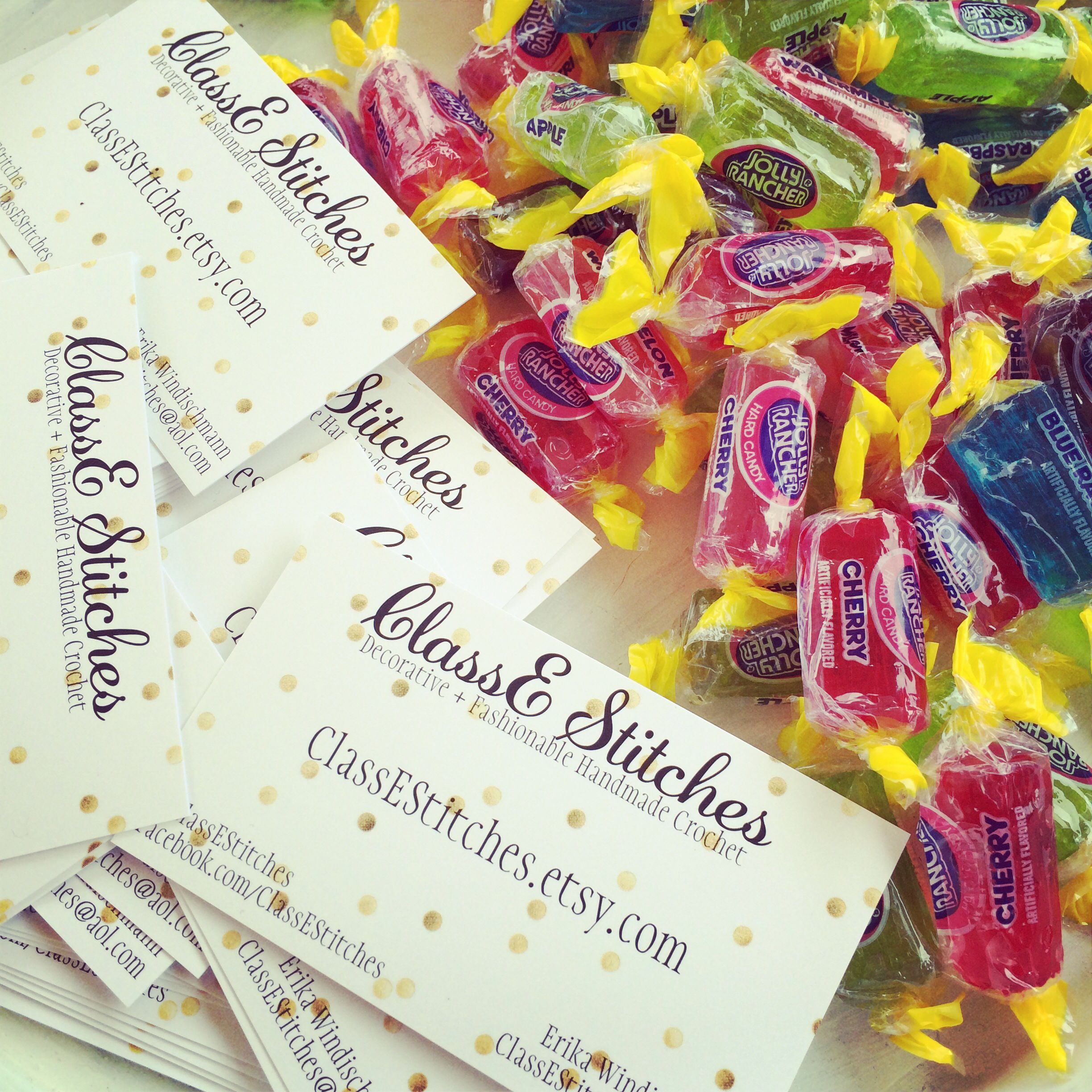 Business cards and candy craft show display with images