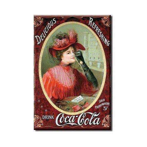 "METAL REFRIDGERATOR MAGNET 2x3/"" NEW DRINK COCA-COLA"