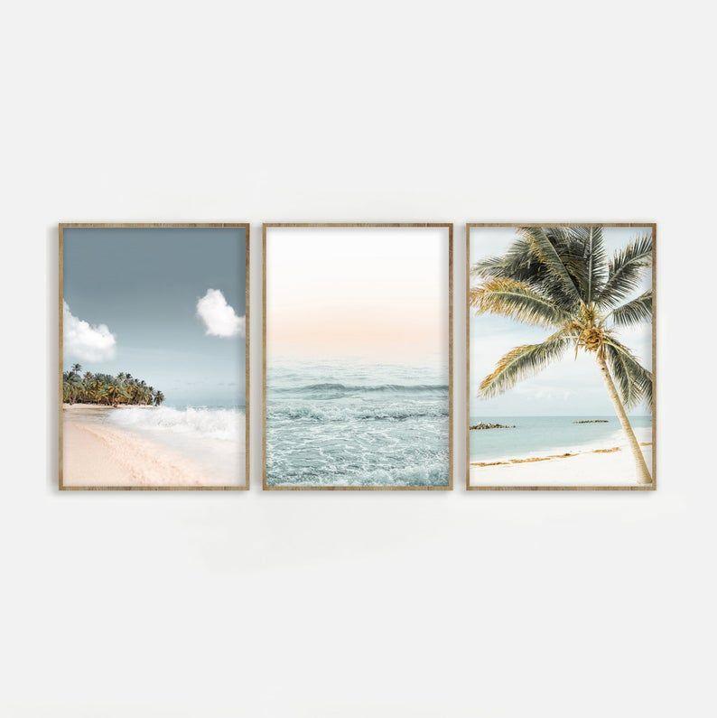 Beach Print Set of 3 Palm Tree & Ocean Digital Download | Etsy
