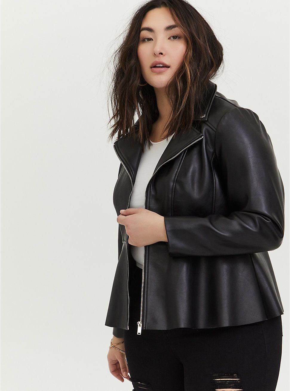 Black Faux Leather Peplum Moto Jacket Leather Peplum Black Faux Leather Faux Leather Moto Jacket [ 1308 x 971 Pixel ]