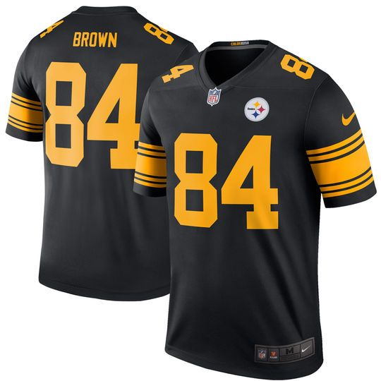 the latest 04768 22cb7 Men's Pittsburgh Steelers Antonio Brown Nike Black Color ...