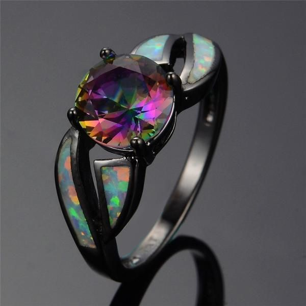 Buy 8 Type Black Filled Fire Opal Ring - 75% OFF TODAY! at 6Lynx - Passion Apparel for only $ 24.00