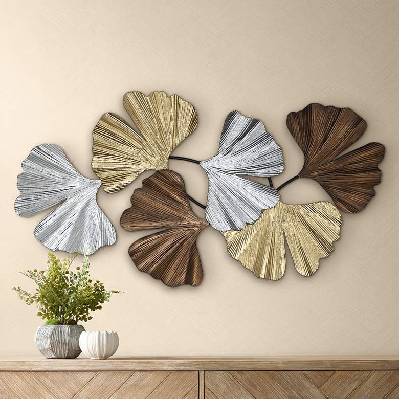 Metallic Leaves 41 Wide Metal Wall Art 61k40 Lamps Plus In 2020 Metal Leaf Wall Art Metal Wall Art Decor Leaf Wall Art