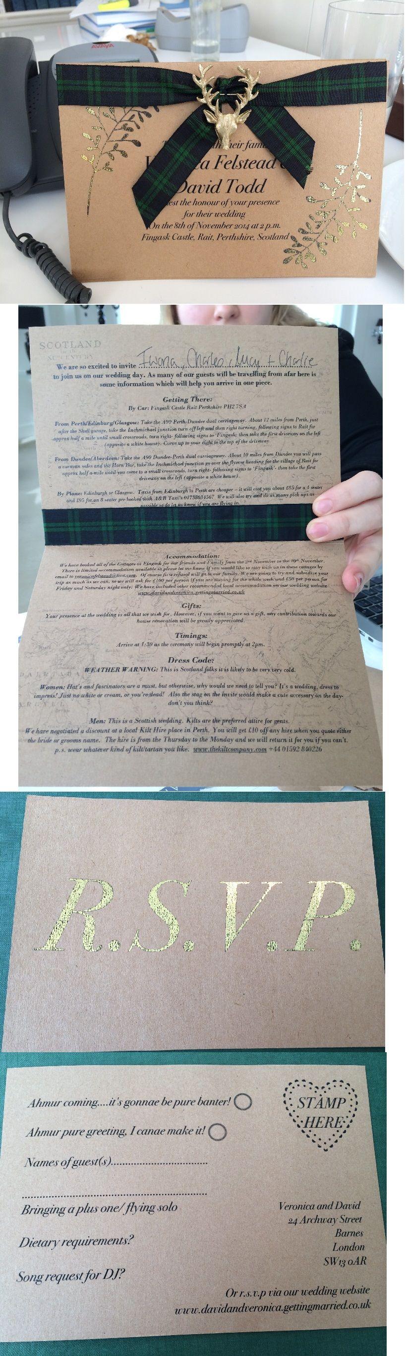 DIT Scottish Gold Wedding Invitation Black Watch Tartan. These ...