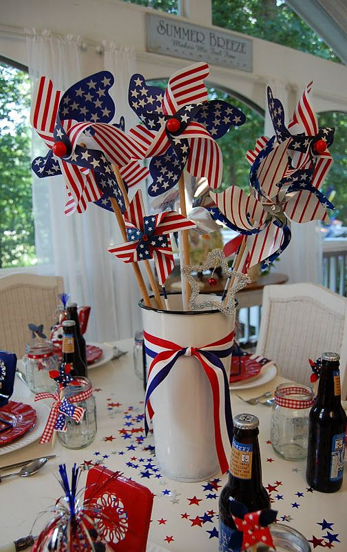 A Patriotic Celebration Table Setting 4th Of July Decorations