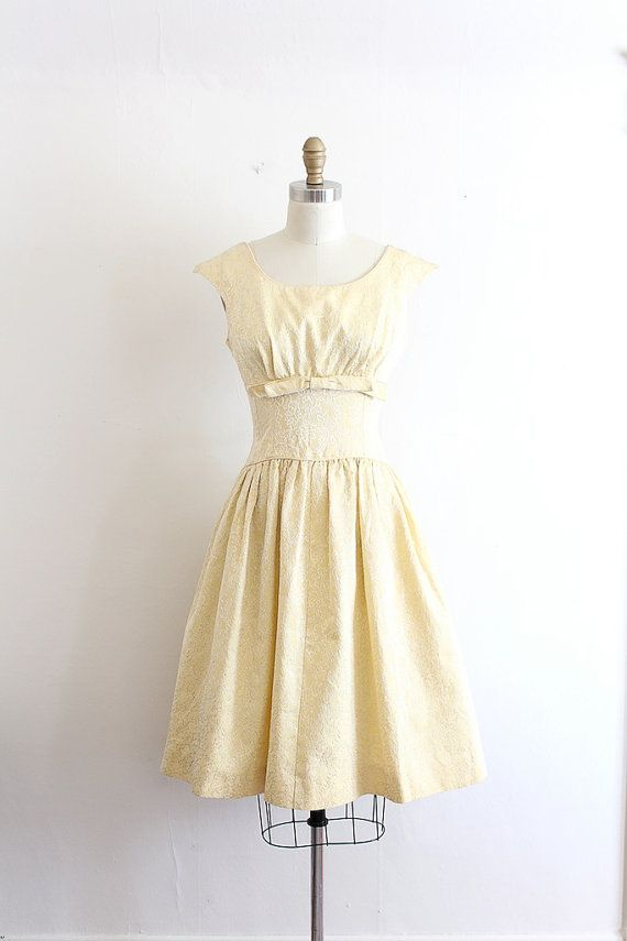 Vintage 1960s dress // 60s golden yellow prom dress // it\'s all in ...