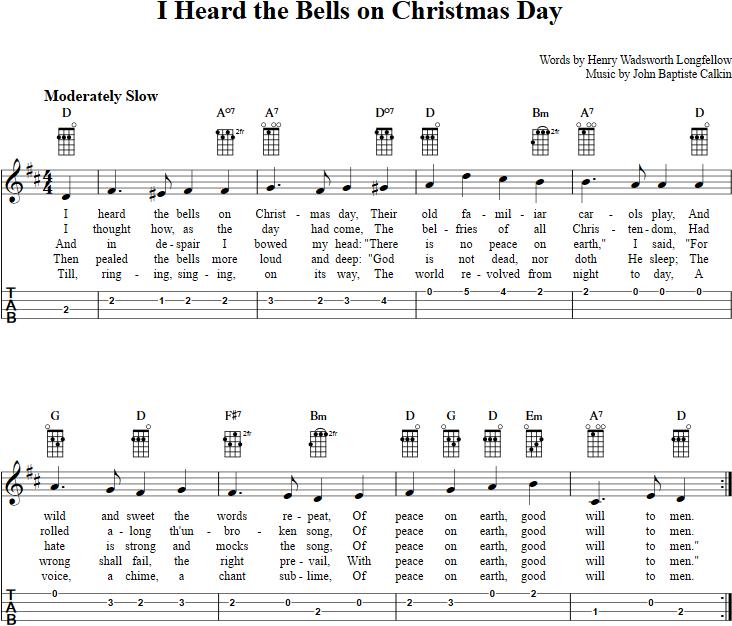 i heard the bells on christmas day ukulele tab - I Heard The Bells On Christmas Day Chords