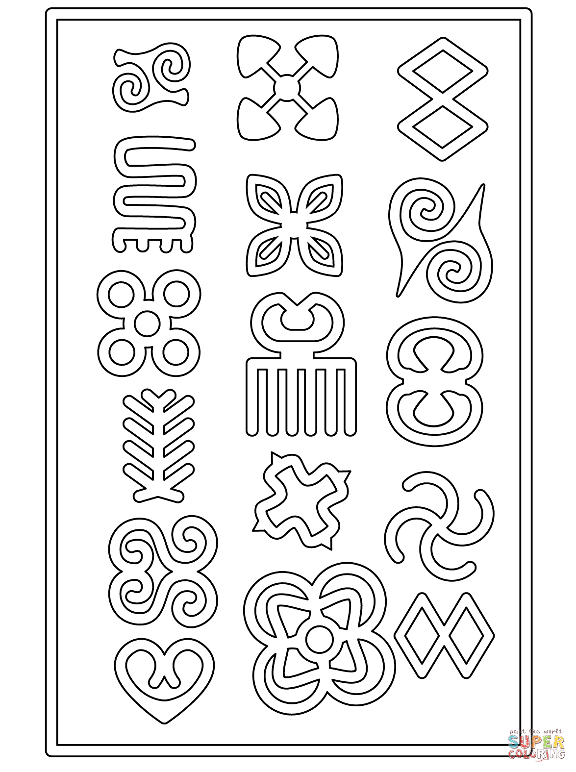 Adinkra Symbols Coloring Page From Africa Category Select From Printable Crafts Of