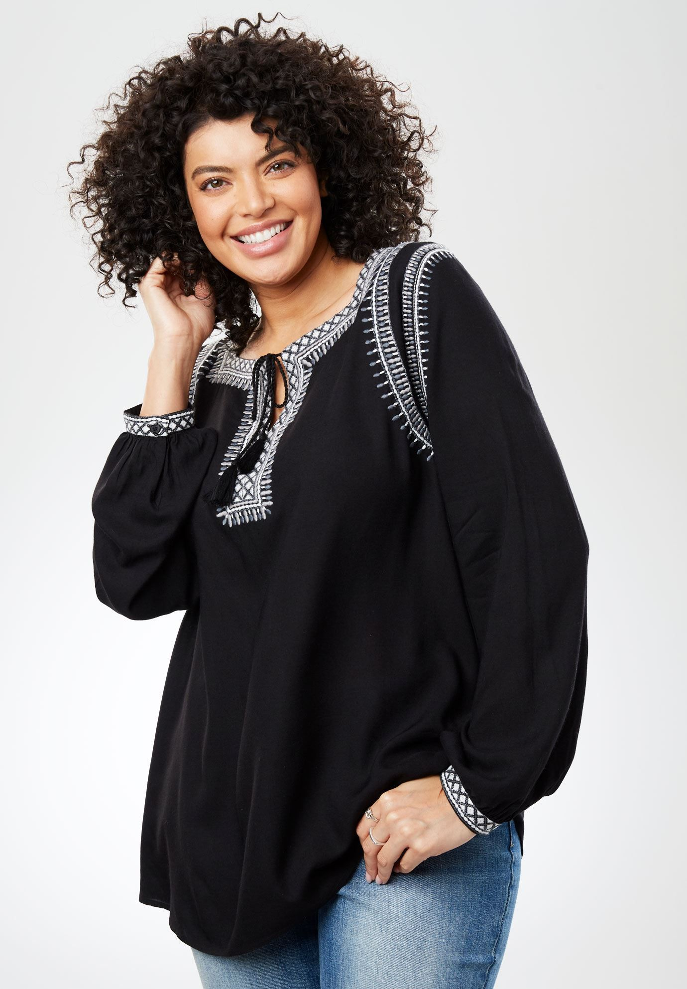ced65b953cc Embroidered-Trim Peasant Top with Ties