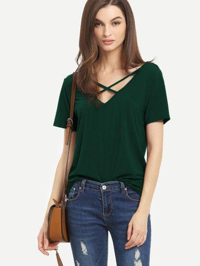 Camiseta con tiras cruzadas en la parte delantera espalda en V de manga  corta - verde oscuro 5a7c7c97f44c