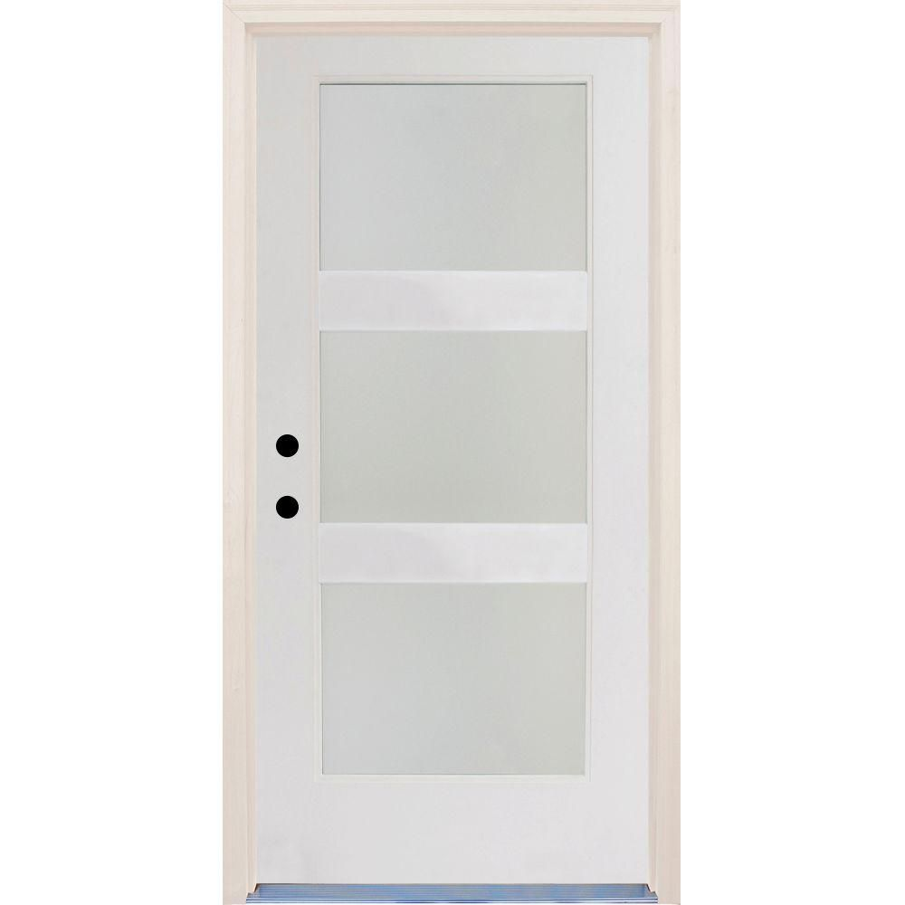Builders Choice 36 In X 80 In Elite Right Hand 3 Lite Satin Etch Contemporary Unfinished Fiberglass Prehung Front Door With Brickmould Hdxd184264 The Home D In 2020 Glass Doors Interior Contemporary