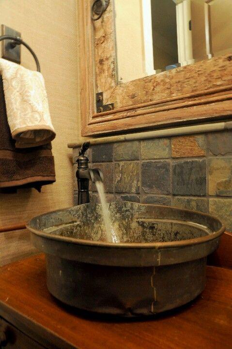 wash tub sink rustic bathroom powder