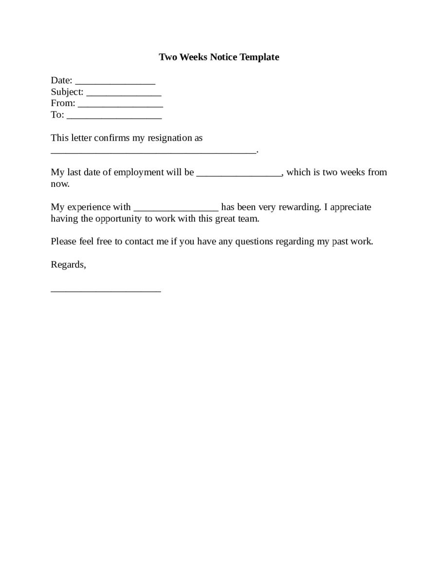 TwoWeeksNoticeTemplatePng   Letters