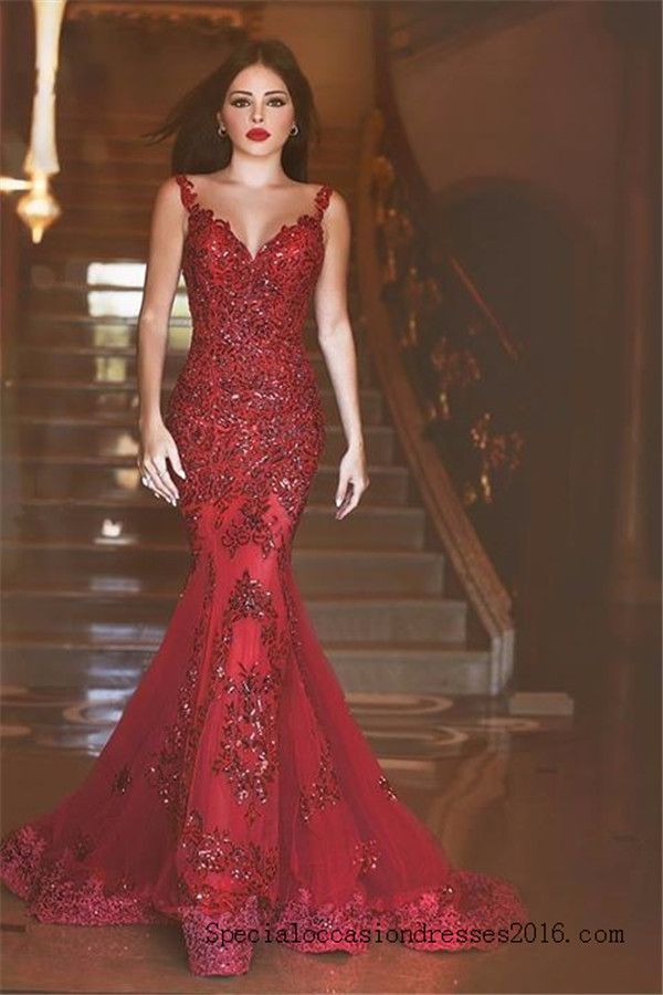 Red Lace Mermaid Evening Dresses Bling Bling Formal Gowns #BKTJ199 ...