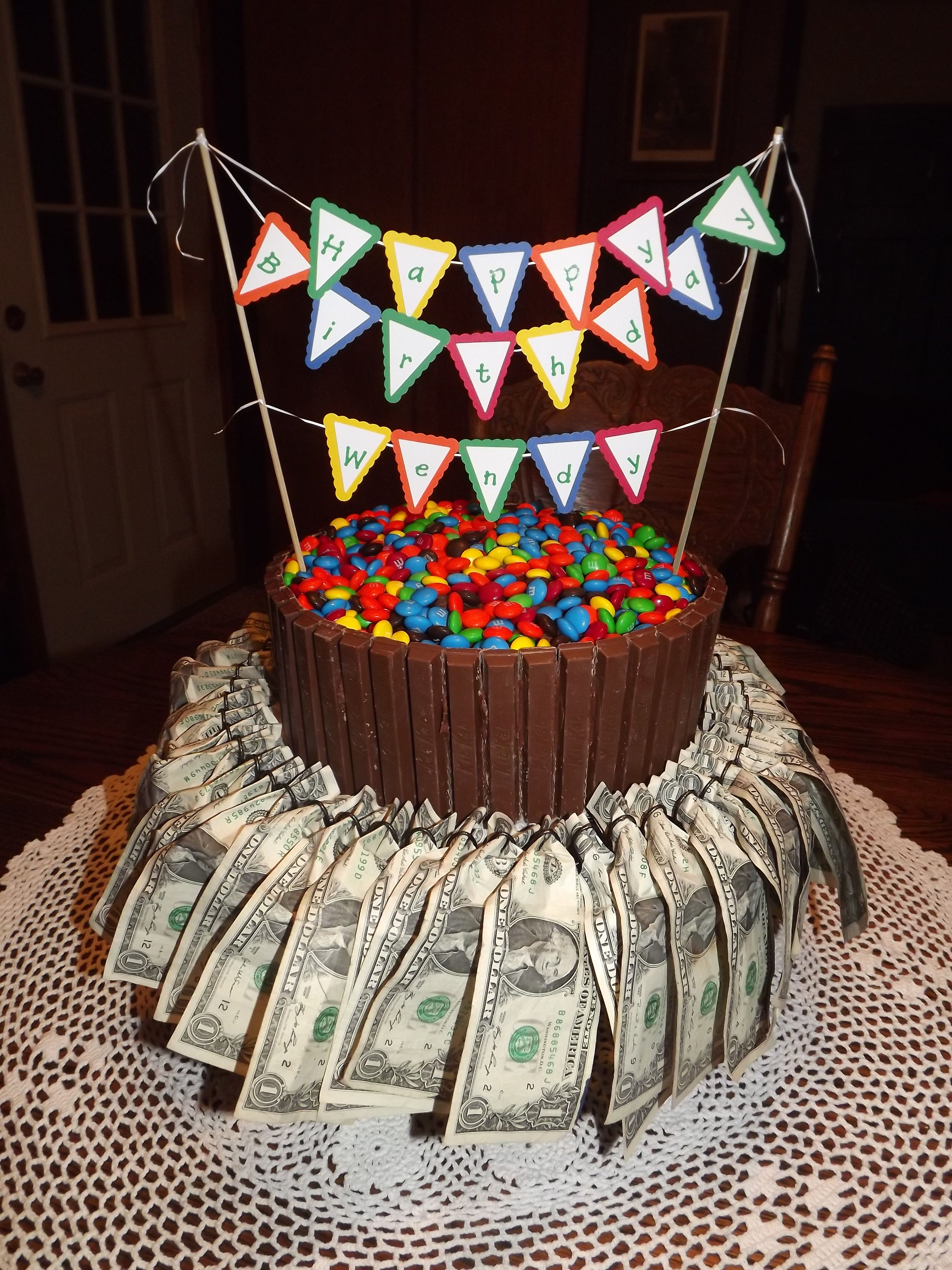 50th birthday cake with 50 one dollar bills HINT HINTI turn 50