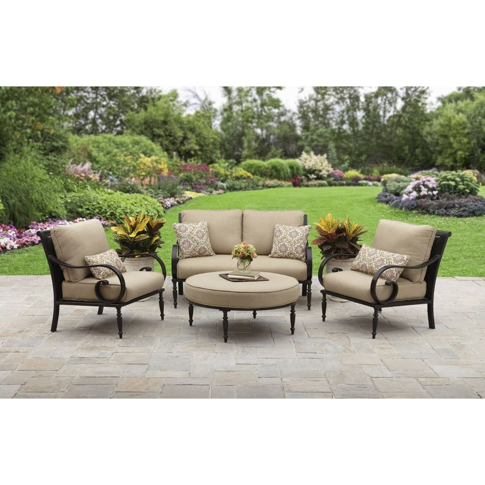 4 Pc Luxury Patio Conversation Set Outdoor Garden Furniture Chair Seat Ottoman Conversation Set Patio Luxury Patio Furniture Garden Patio Furniture
