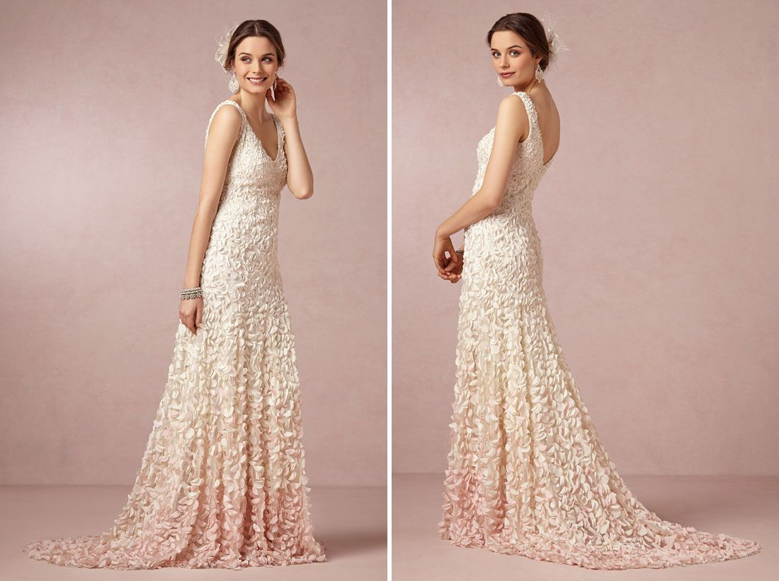25 Non Traditional Wedding Dresses For The Modern Bride Via Brit Co I Love Hint Of Pink At Bottom