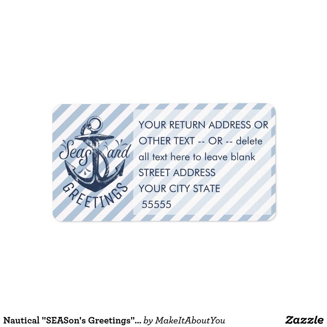 Nautical Seasons Greetings Navywhite Stripes Label Happy