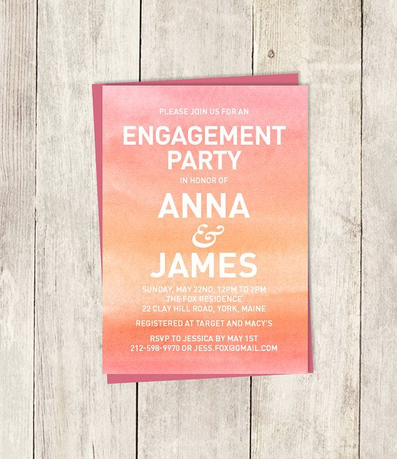 Engagement Party Invitation Diy Ombre Watercolor Coral Pink