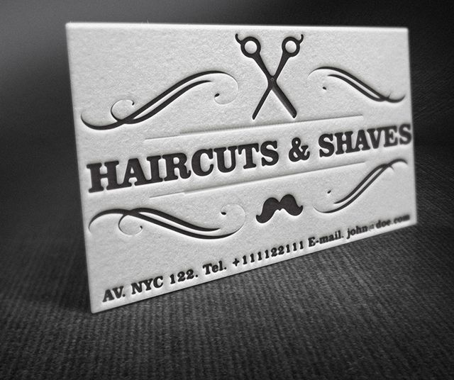 A showcase of letterpress barber shop business cards idea in retro a showcase of letterpress barber shop business cards idea in retro style the design is reheart Gallery