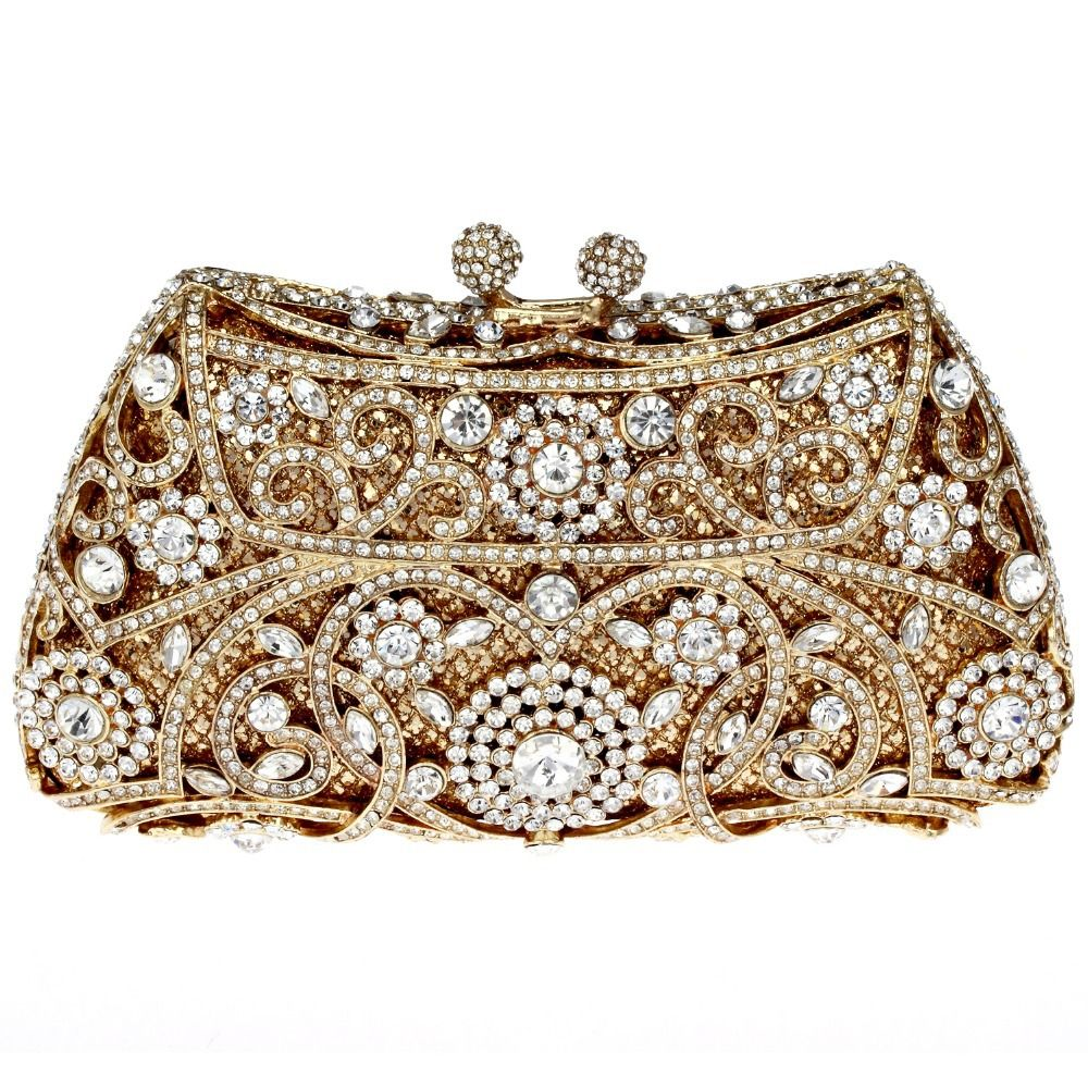 evening bag Luxury Golden Bridal Clutch Women Full Crystals Flower Style  Metal Purse Fashion Hard Case Handbags with Chain  prom 48de91e7089a