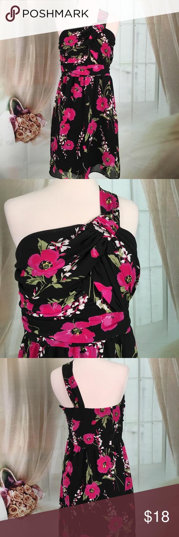 Delias Black Floral One Shoulder Prom Dress | Shoulder dress ...