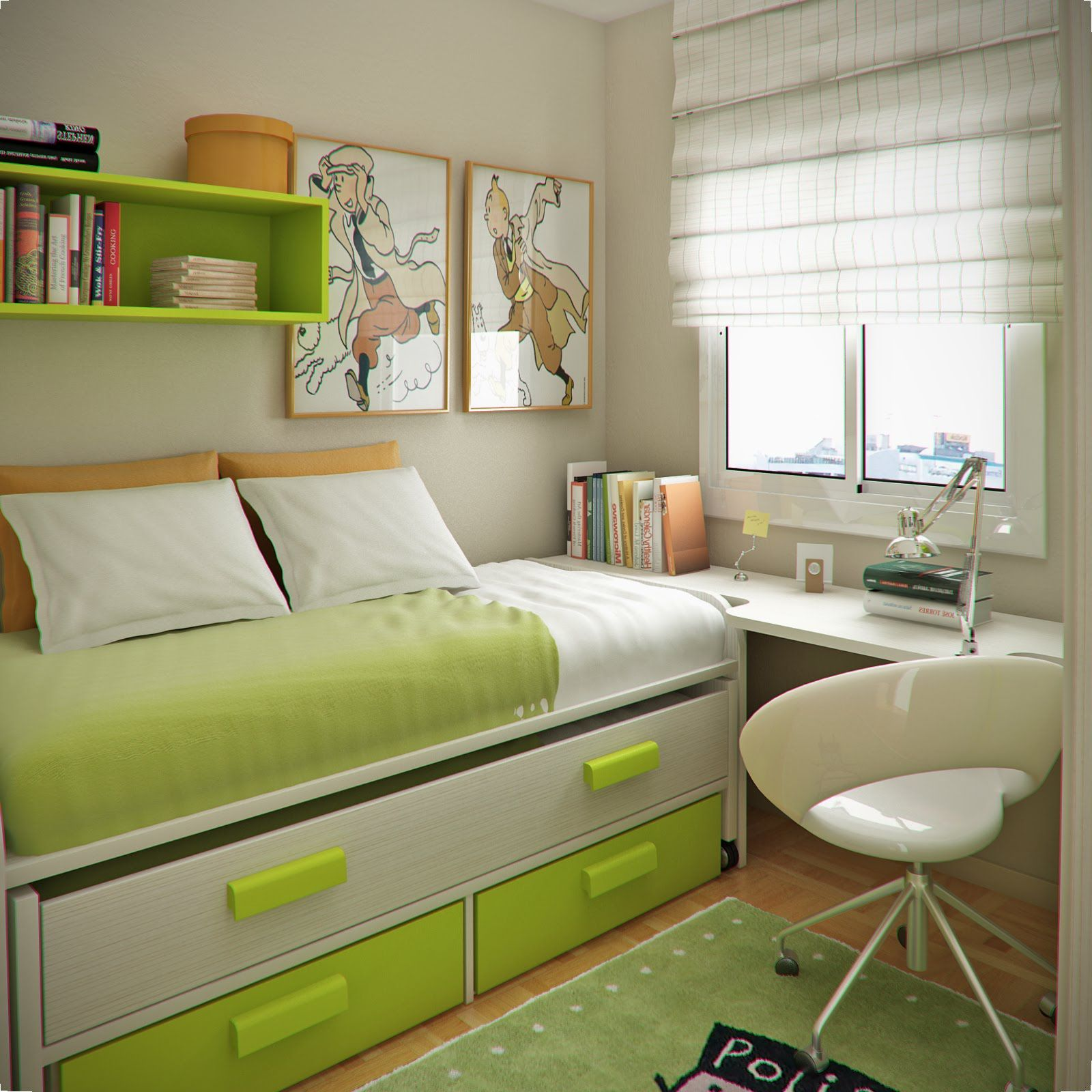 Enchanting Teenage Small Bedroom Designs With Green And White Color Single  Bed With Drawers As Clothing