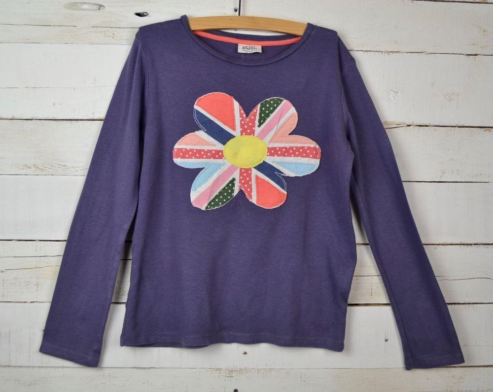 Girls mini boden sz y purple l s flower applique shirt top