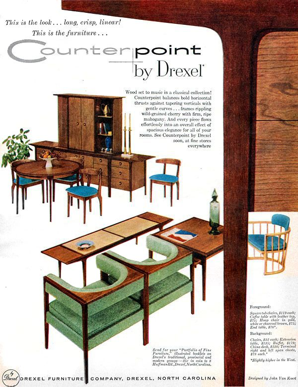 Modern Furniture Ads drexel 1957 counterpoint - john van koert | mcm drexel furniture