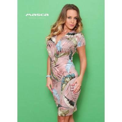 a58236d499 Masca Fashion átlapolt mellrészű levélmintás, mályva színű rövid ujjú ruha,  könnyen kezelhető lágy esésű