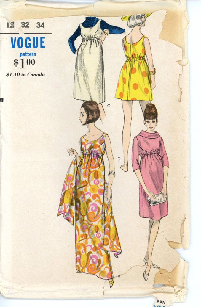 b69558b19a698 Vogue 6181 Misses 1960s Maternity Dress Pattern Summer Sunsuit or Evening  Dress and Stole Womens Vintage Sewing Pattern Bust 32. $22.00, via Etsy.