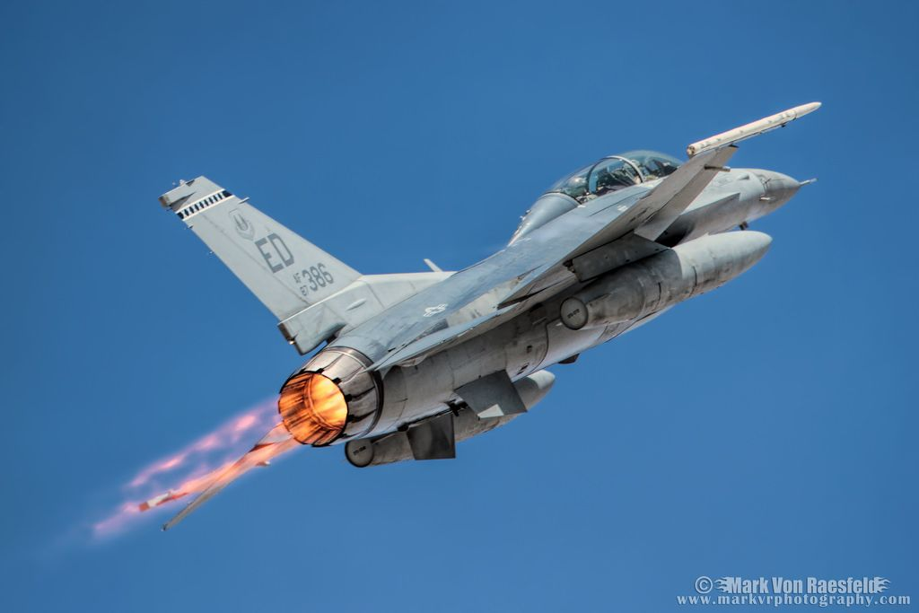 https://flic.kr/p/EBSrKB   Edwards F-16D   87-0386 lights the afterburner on the way out of the 2016 L.A. County Air Show.