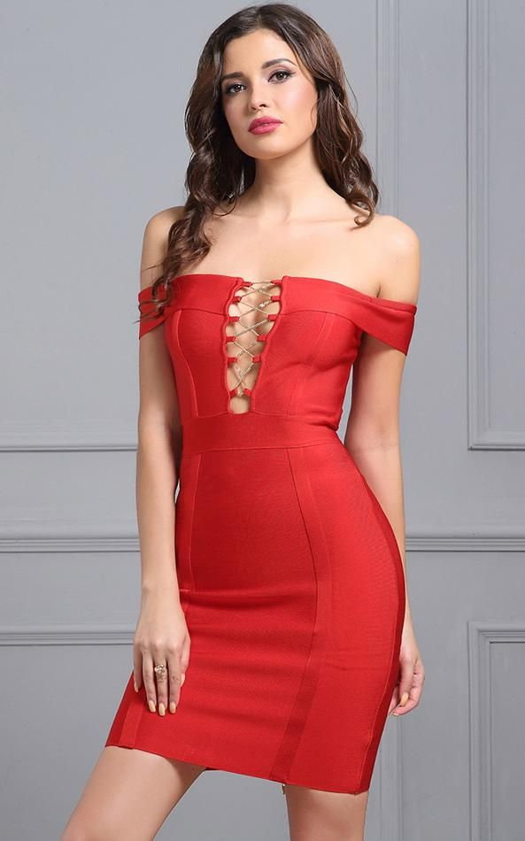 eb039b744c Red Off The Shoulder Lace Up Front Bandage Dress in 2019
