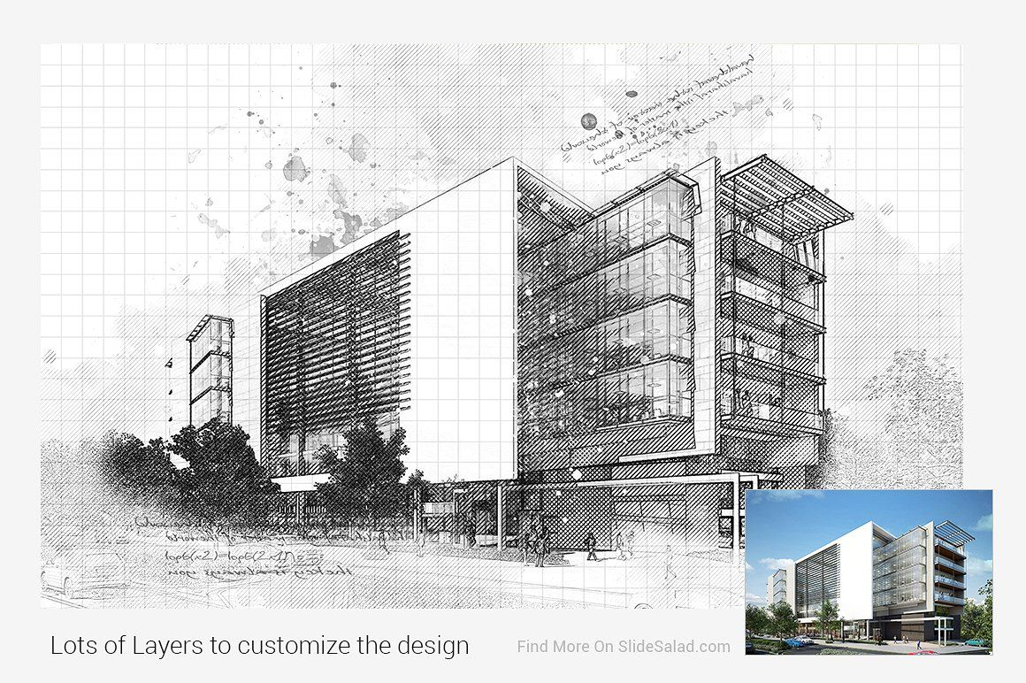 Architecture Sketch Photoshop Action By Slidesalad On
