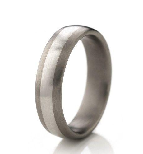 RG745 Titanium Mixed Metal Brushed 6mm Mens Wedding Ring