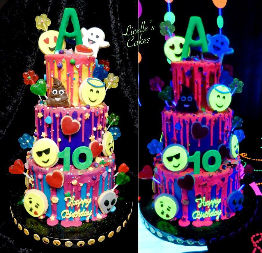 Marvelous Glow In The Dark Emoji Cake Emoji Cake Birthday Cake Kids 10 Funny Birthday Cards Online Eattedamsfinfo