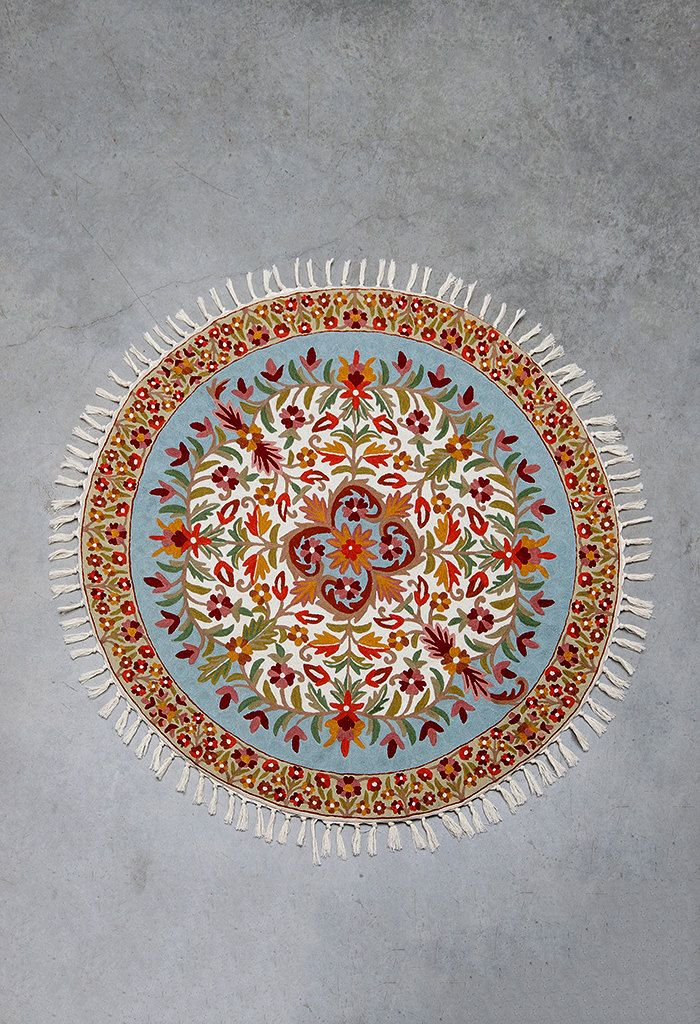 5 Ft Round, Turquoise Area Rug, Circular Rugs, 4 Ft Round, Floral Area Rugs,  Rug Store, Affordable Area Rugs, FREE SHIPPING!