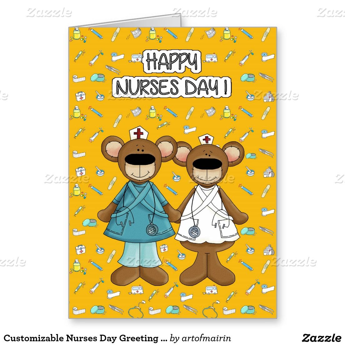 Happy nurses day funny teddy bears personalized greeting cards happy nurses day funny teddy bears personalized greeting cards matching cards in various languages postage stamps and other products available in the m4hsunfo Image collections