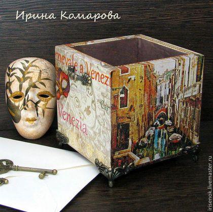 """""""Венеция"""", подставка под расчески, косметику - карандашница деревянная"""