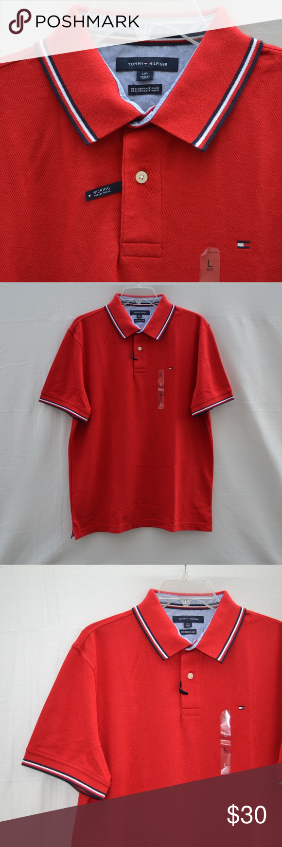 9b1db0b2 TOMMY HILFIGER Wicking Performance Pique Polo Red TOMMY HILFIGER Men's  Wicking Performance Pique Polo Shirt Red