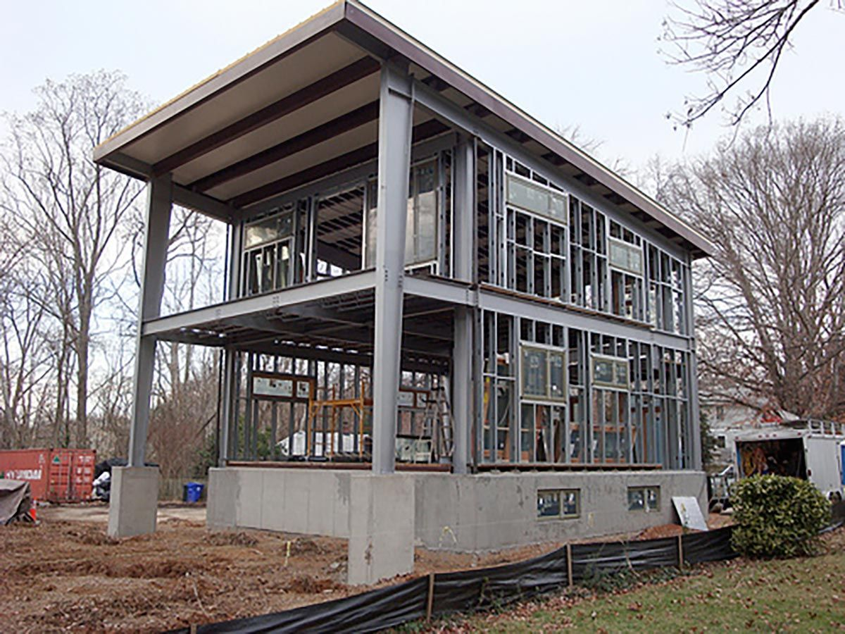 The Personal Steel Home Of The Project General Contractor The 3030 Home Was Meant To Create An Ope Steel Frame House Steel Building Homes Metal Building Homes