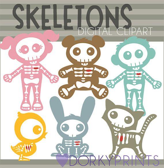 Cute Skeletons Halloween Digital Clip Art Set Personal And Commercial Use Skeleton Girl