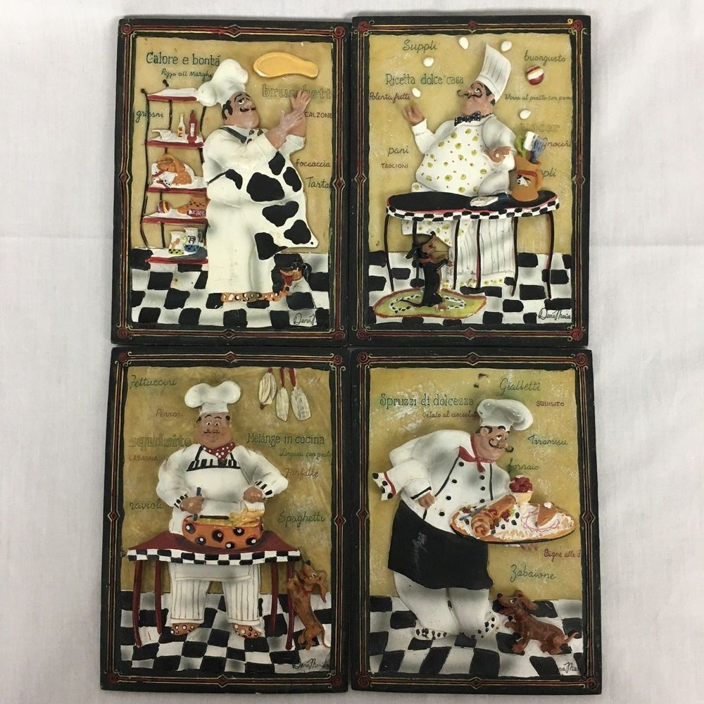 Set of ceramic dena marie fat chef kitchen wall art italian chef